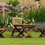 garden furniture on grass