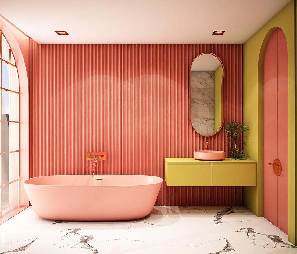 Stile Wes Anderson, bagno