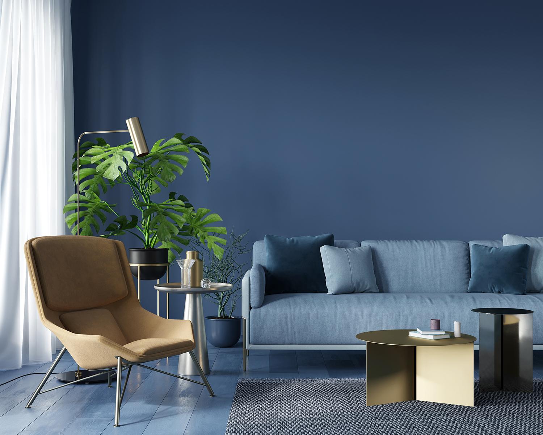 Tendenze colore 2021: salotto in blu