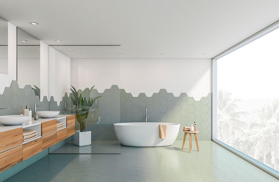 Tendenze piastrelle bagno: piastrelle di grandi dimensioni e contrasti cromatici