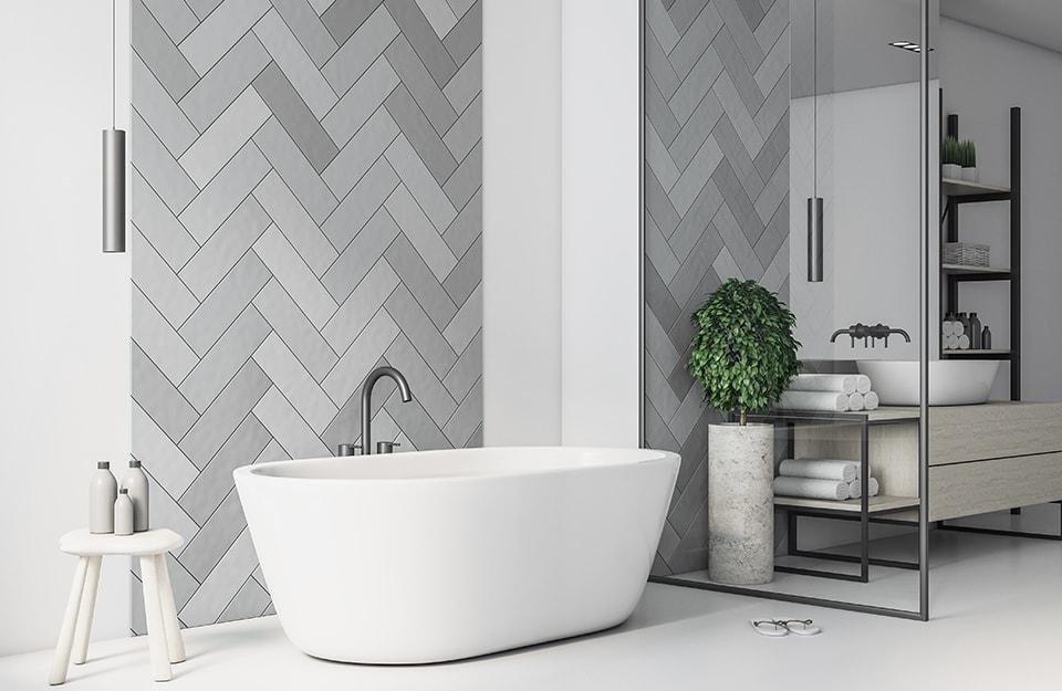 Tendenze piastrelle bagno: pattern tono su tono