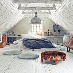 Una mansarda trasformata in camera da letto