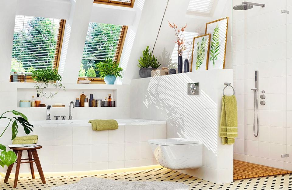Una mansarda trasformata in bagno