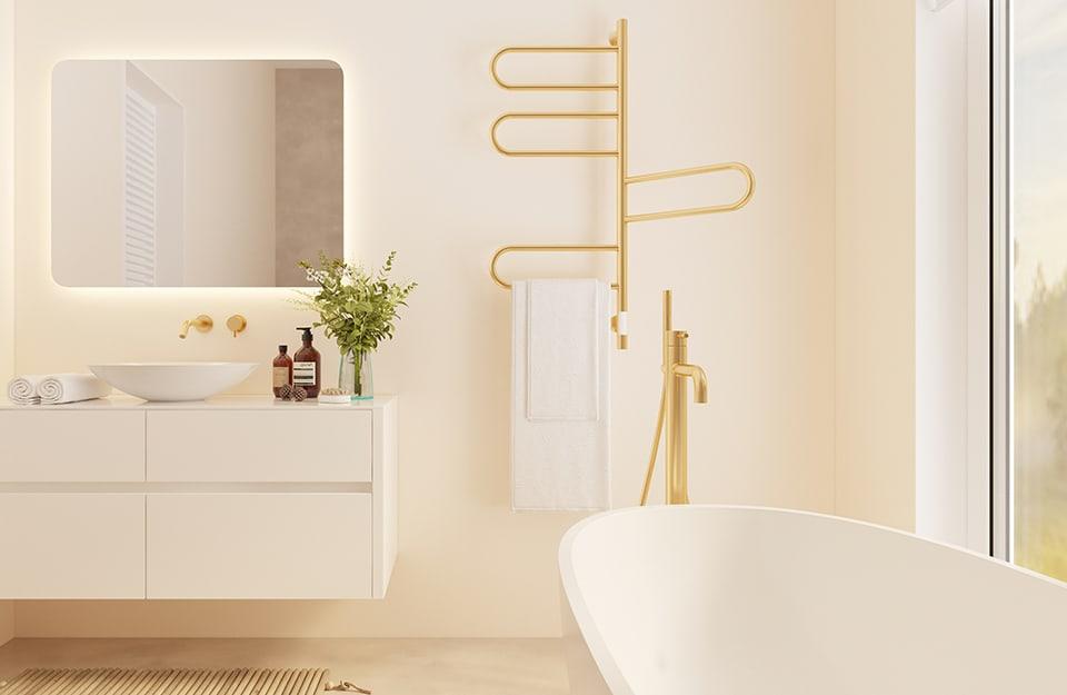 Bagno moderno con appendi asciugamano metallizzato