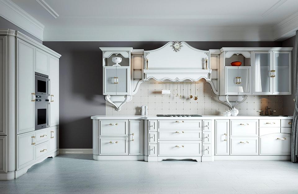 Grande cucina moderna bianca con linee classiche d'ispirazione shabby